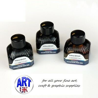 Wiliam Mitchell FOUNTAIN PEN INKS artists calligraphy drawing 80ml bottles