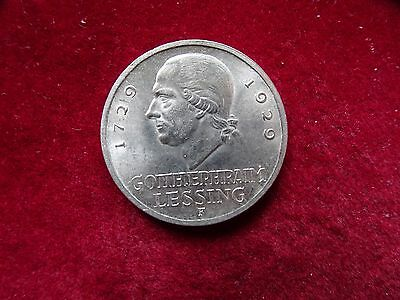 3 Mark Weimarer Republik  1929 F  Lessing  Silber