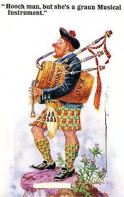 postcard - Valentine's - novelty pullout - Scotsman bagpipes - Blairgowrie 1920