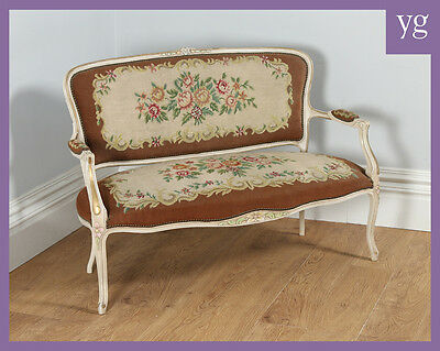 Antique French Louis XV Style Painted Gilt Carved Tapestry Couch Sofa Settee