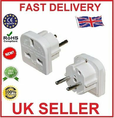 1, 2, 3, 4, 5 or 10 PACK UK TO EU EUROPE - TRAVEL ADAPTER POWER PLUG 3 PIN 2 PIN