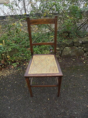 Pretty Little Antique Edwardian Era Inlaid Mahogany Chair with Bergere Seat