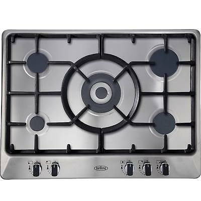 Belling GHU70GC MK2 70cm Gas Hob with Cast Iron Pan Supports in Stainless Steel