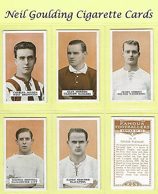 BAT (B.A.T.) - Famous Footballers, Set 2 1924 #1 to #50 Football Cigarette Cards