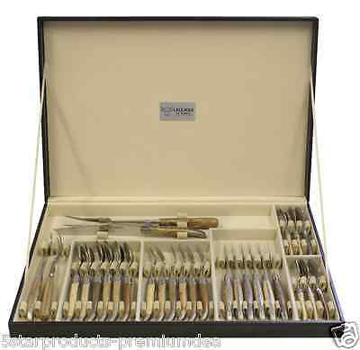 New Laguiole En Aubrac French Wood 28 Piece Cutlery Set Stainless Steel Knives