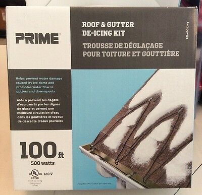 Prime 100 ft Roof and Gutter De-Icing Kit Wire Heated Cable 500 Watts RHC500W100