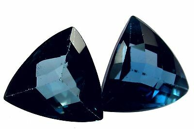 Natural Awesome London Blue Topaz Loose Gemstones (Pair) Trillion Cut