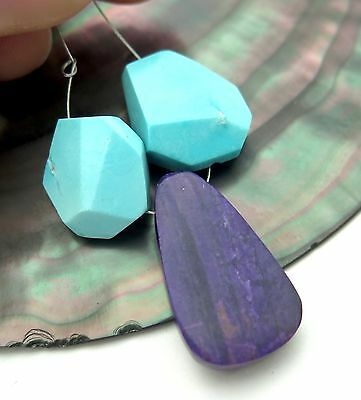 AFRICAN PURPLE SUGILITE & SLEEPING BEAUTY TURQUOISE FOCAL BEAD SET 24.2cts