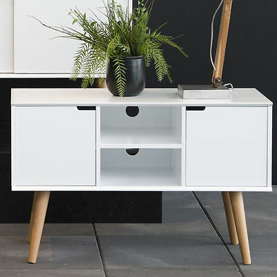 Small White Sideboard Stand TV Unit Storage Cabinet Vintage Retro Home Furniture