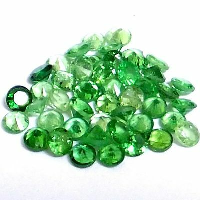 NATURAL TOP GREEN TSAVORITE GARNET LOOSE GEMSTONES (3 pcs) ROUND CUT (1.7 mm)