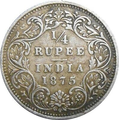 British India 1/4 Quarter Rupee 1875 KM470 Victoria Queen - Bombay mint (3845)