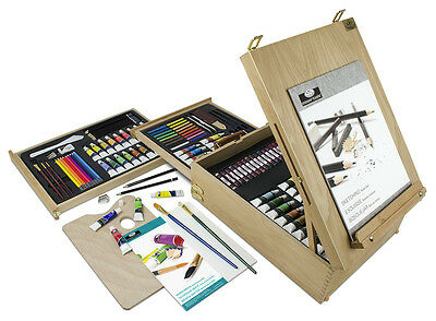 150 Piece Art Easel Artist Set Oil Acrylic Watercolour Paints Pencils Brushes 61