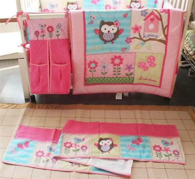 Lovely Pink Spring Owl Flower Love Home Baby Crib Nursery Bedding Set 4pcs Girl