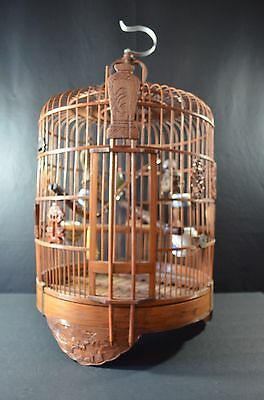 large chinese antique wood and banboo bird cage