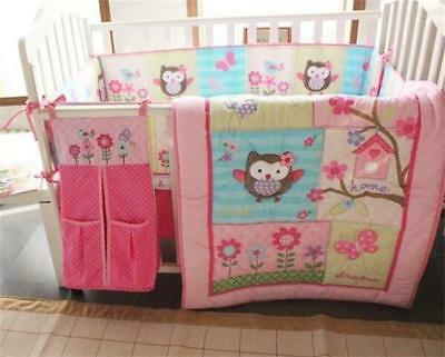 5pcs Pink Spring Owl Flower Love Baby Crib Nursery Bedding Set Girl + Nappy Bag