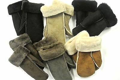 100% Genuine Sheepskin Mittens Ladies Gloves Various Colours Made In The UK