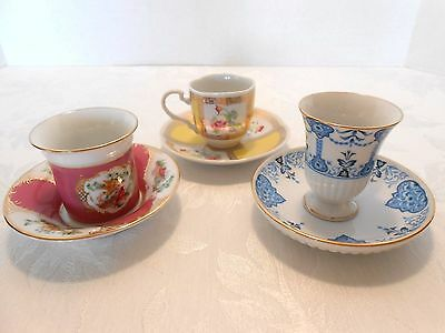 Avon European Tradition Demitasse Cups and Saucer Collectibles set of 3