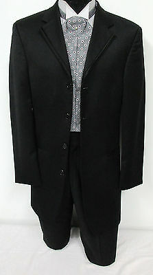 Black Tuxedo Jacket Frock Coat Steampunk Cosplay Dickens Christmas Carol