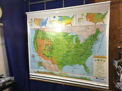 Nystrom 1PL991 Political & Physical Markable Map of WORLD & UNITED STATES 3 Maps