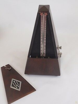 WITTNER Vintage Metronome With Bell  Mahogany Wood Case