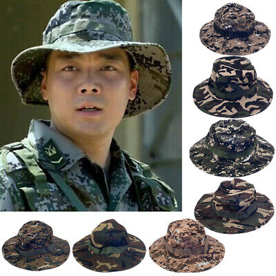 Mens Camo Military Bucket Hat Boonie Hunting Fishing Outdoor Wide Brim Sun Cap