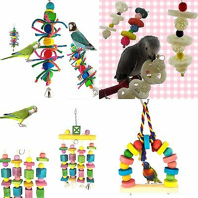 Parrot Pet Bird Chew Cages Hang Toys Wood Large Rope Cave Ladder Bite Chew Toy