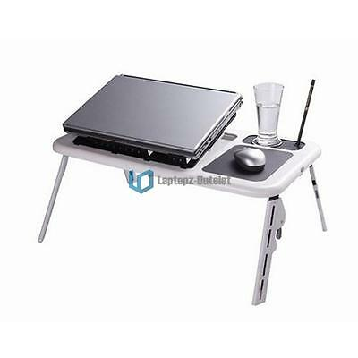 New Adjustable Folding Laptop Notebook Desk Table with Cooling Fan Stand Tray