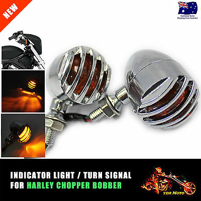 4x Chrome Motorcycle Mini Bullet Turn Signal Light Amber Indicator for Harley