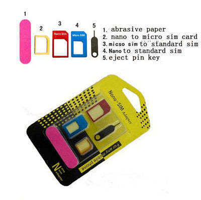 Converter SIM Card Adapter to Nano 5 IN 1 for iPhone Micro Standard Set Adaptor