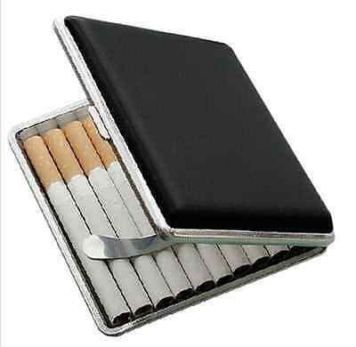 Man's Black Pocket Leather Metal Tobacco 20 Cigarette Case Box Holder Storage US