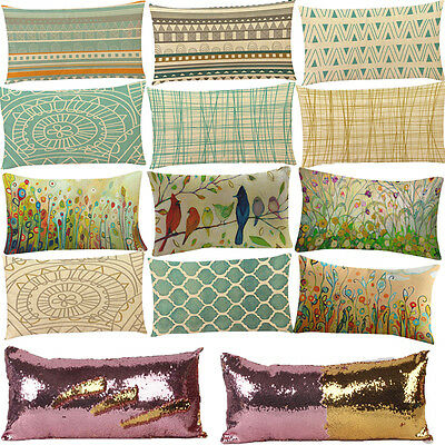 Rectangle Sequin Geometric Line Sofa Bed Home Pillow Case Cushion Cover Decorate