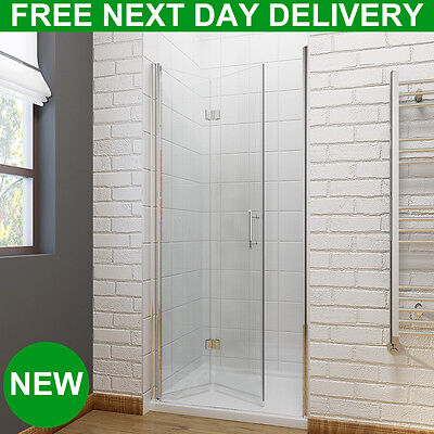 Bifold Door Shower Enclosure Bathroom Frameless Hinges Cubicle 6mm Glass Screen