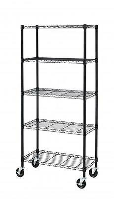 5 Shelf Black Steel Wire Shelving 30 by 14 by 60-Inch Storage Rack W/Wheels 605