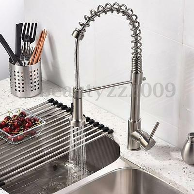 Nickel Brass Pull Out Hot&Cold Water Mixers Tap Spray Kitchen Basin Sink Faucet