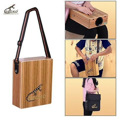 GECKO Traveling Cajon Box Drum Hand Drum Zebra Wood with Strap Carrying Bag U0H4