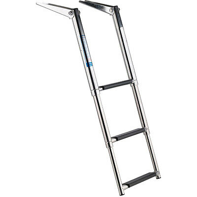 Stainless Steel 3 Step Telescopic Boat Ladder - Marine Transom Boarding Ladder