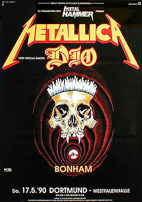 METALLICA & DIO rare concert poster from 1990