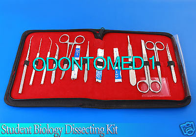 15 Pcs Student Biology Dissection Dissecting Kit W/ Sterile Surgical Blade #22