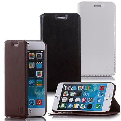 Genuine Leather Mobile Phone Wallet Case Flip Cover Vintage Style With Stand