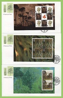 G.B. 2000 Trees, 5 booklet panes Royal Mail First Day Covers, Kew Gardens