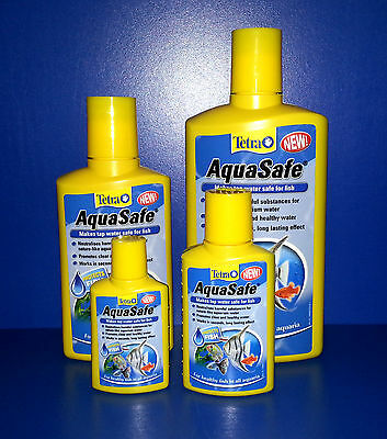 Tetra Aqua Safe 50ml Makes Tap Water Healthy & Clear For Fish Removes Chlorine