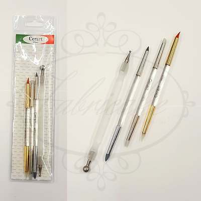 Cerart Set of 4 Modelling Cake Decorating Acrylic Tools with Metal Ball Tool