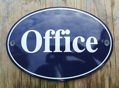 CLASSIC ENAMEL OFFICE SIGN. OVAL. WHITE TEXT ON A BLUE BACKGROUND. 16x11cm.