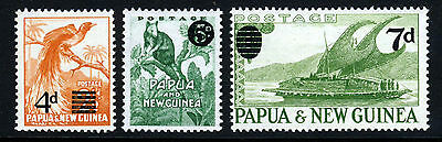 PAPUA & NEW GUINEA 1957-59 The Surcharged Set SG 16, SG 17 & SG 25 MNH