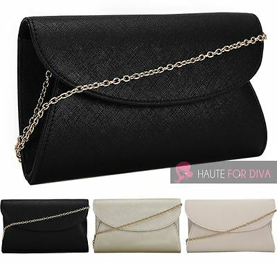 New Ladies Rounded Front Chain Strap 3D Envelope Evening Clutch Bag Purse