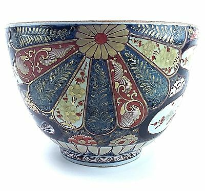 19th c Large Old Japanese Gold Imari Porcelain Cache Plant Pot Hand Painted