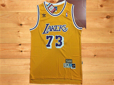 Hot ! Los Angeles Lakers # 73 Dennis rodman Yellow Jersey size: S - XXL