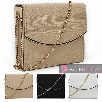 New Textured Faux Leather Gold Trim Side Frame Chain Strap Bridal Clutch Bag