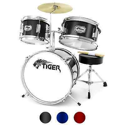 3 Piece Junior Drum Kit by Tiger - Stool & Sticks Included - Ideal