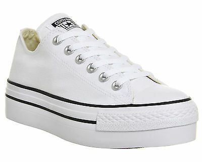 Womens Converse All Star Low Platform WHITE Trainers Shoes